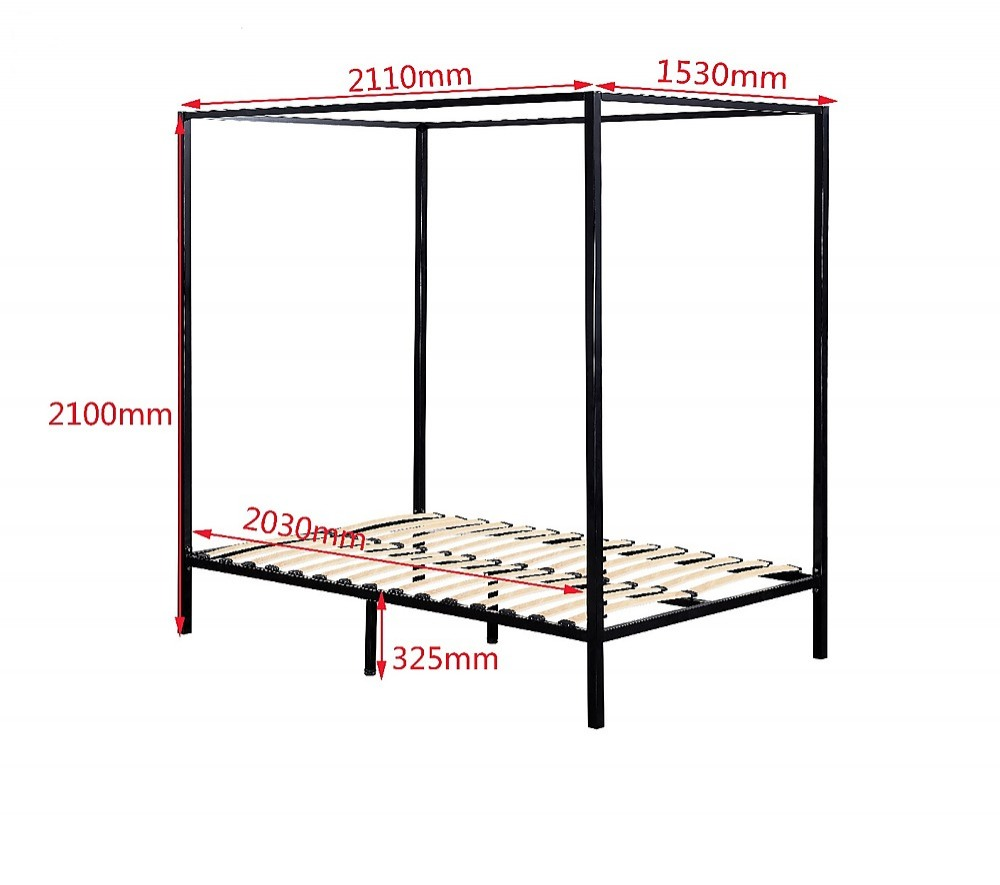 Classic 4 Four Poster Metal Bed Frame Heavy Duty Bedroom
