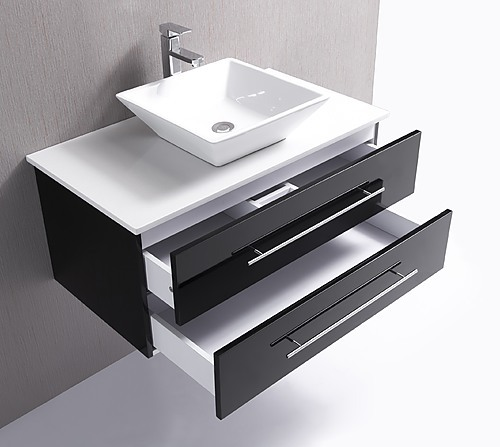 ... 900mm Wall Hung Bathroom Vanity Unit With Stone Top, Basin   Della  Francesca ...