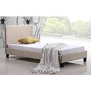 Single Linen Fabric Bed Frame Beige