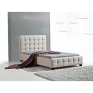 King Single Linen Fabric Deluxe Bed Frame Beige