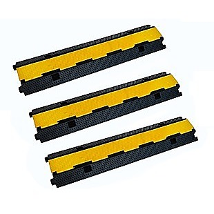 3pcs 2-Cable Rubber Electrical Wire Cover Heavy Duty Protector Dual Channel
