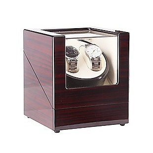 Automatic Dual Watch Winder Wood Display Box Case Motor Rotation Storage