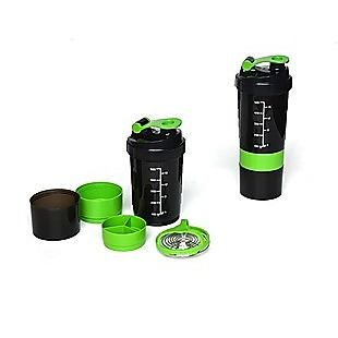 2x Protein Gym Shaker Premium 3 in 1 Smart Style Blender Mixer Cup Bottle Spider