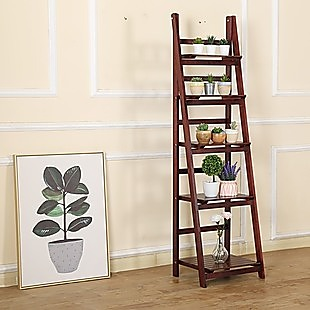 5 Tier Wooden Ladder Shelf Stand Storage Book Shelves Shelving Display Rack