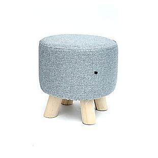 Fabric Ottoman Foot Stool Rest Pouffe Footstool Wood Storage Padded Seat