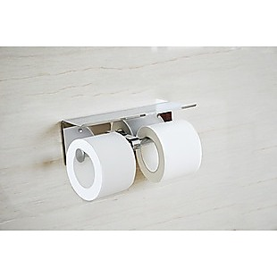 Stainless Steel Double Toilet Paper Holder Towel Roll Tissue Rack Storage Shelf