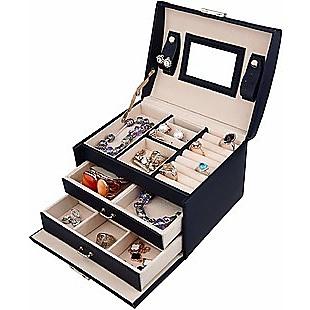 Jewellery Storage Box Girls Rings Necklaces Display Organiser Storage Case