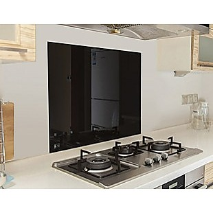 Toughened 60cm x 75cm Black Glass Kitchen Splashback