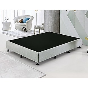 Palermo Queen Ensemble Bed Base Platinum Light Grey Linen Fabric