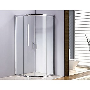100 x 100cm Rounded Sliding 6mm Curved Shower Screen with Base in Chrome