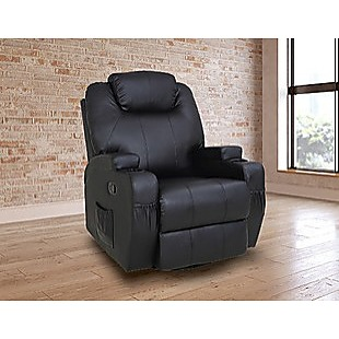 Massage Sofa Chair Recliner 360 Degree Swivel PU Leather Lounge 8 Point Heated
