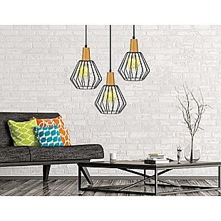 Wood Pendant Light Bar Black Lamp Kitchen Modern Ceiling Lighting