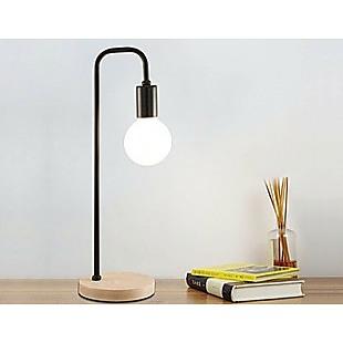 Modern Table lamp Desk Light Timber Base Bedside Bedroom Black