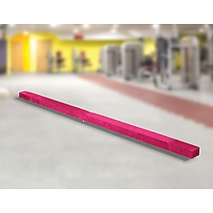 2.45m (8FT) Gymnastics Folding Balance Beam Pink Synthetic Suede
