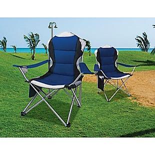 2x Folding Camping Arm Chairs Portable Outdoor Garden Fishing Tourer