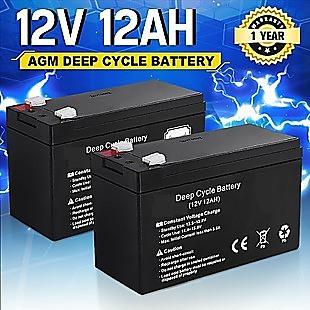 2 X 12AH Battery 12V AMP Lead Acid SLA Deep Cycle Battery Dual Solar Power