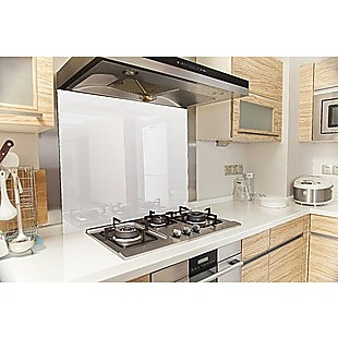 Toughened 90cm x 75cm White Glass Kitchen Splashback