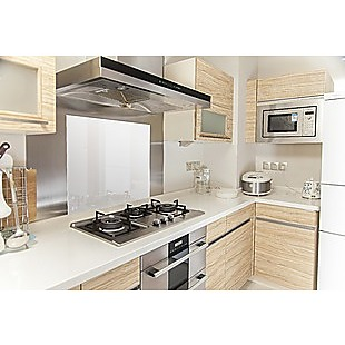 Toughened 60cm x 70cm White Glass Kitchen Splashback