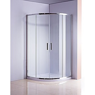 90 x 90cm Rounded Sliding 6mm Curved Shower Screen with Base in Chrome