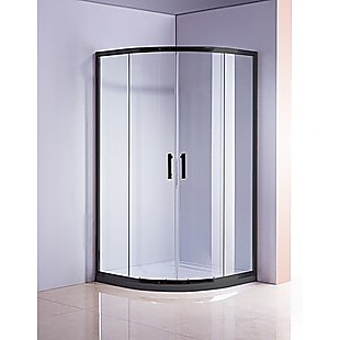 90 x 90cm Black Rounded Sliding 6mm Curved Shower Screen with White Base
