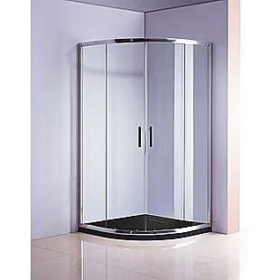 90 x 90cm Chrome Rounded Sliding 6mm Curved Shower Screen with Black Base