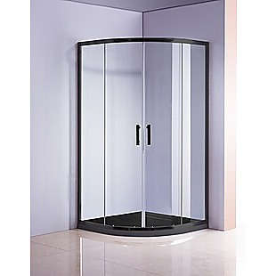 90 x 90cm Rounded Sliding 6mm Curved Shower Screen with Base in Black