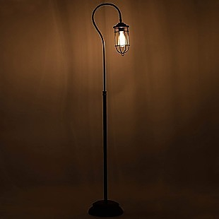 Industrial Floor Lamp with Adjustable Cage Shade Rustic Brushed in Bronze Finish
