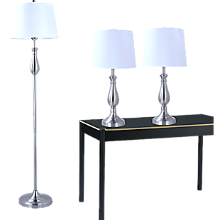 3-Piece Lamp Set Modern Home Living Room Bedroom Nickel Finish