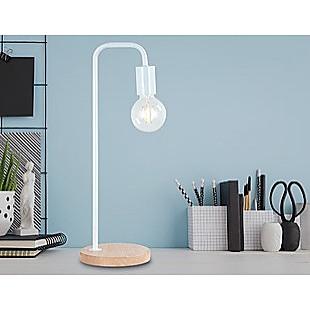 Modern Table lamp Desk Light Timber Base Bedside Bedroom White