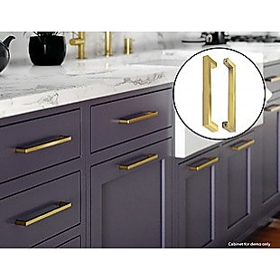 15x Brushed Brass Drawer Pulls Kitchen Cabinet Handles - Gold Finish 256mm