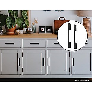5 x 128mm Kitchen Handle Cabinet Cupboard Door Drawer Handles square Black furniture pulls