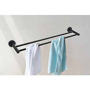 Single Classic Towel Bar Rail Bathroom Electroplated Matte Black Finish