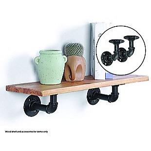 Industrial Black Iron Pipe Bracket Wall Mounted Floating Shelf - Set of 2