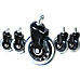5x Office Chair Caster Wheels Set Heavy Duty & Safe for All Floors w/Universal Fit