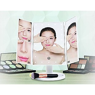 Makeup Mirror With LED Light Standing Mirror Magnifying Tri-Fold Touch