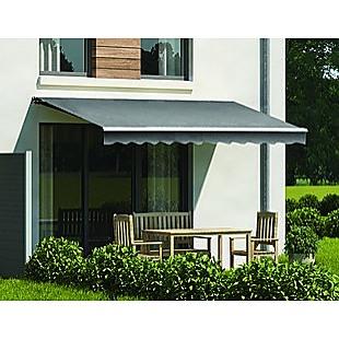 Motorised Outdoor Folding Arm Awning Retractable Sunshade Canopy Grey 4.0m x 2.5m