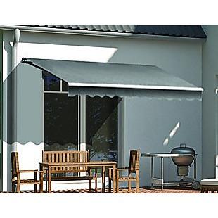 Motorised Outdoor Folding Arm Awning Retractable Sunshade Canopy Grey 4.0m x 3.0m