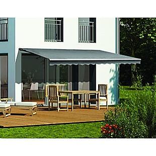 Motorised Outdoor Folding Arm Awning Retractable Sunshade Canopy Grey 5.0m x 3.0m