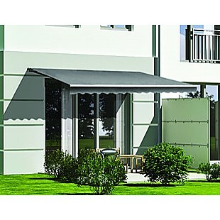 Motorised Outdoor Folding Arm Awning Retractable Sunshade Canopy Grey 5.0m x 2.5m