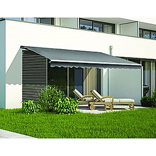 Outdoor Folding Arm Awning Retractable Sunshade Canopy Grey 5.0m x 2.5m