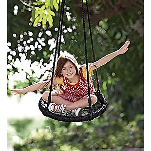 Kids Rope Swing Round Outdoor Birds Crows Nest Spider Web Swing Seat 65cm