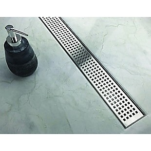 1000mm Bathroom Shower Stainless Steel Grate Drain w/Centre outlet Floor Waste Square Pattern