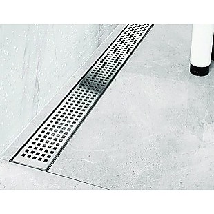 1200mm Bathroom Shower Stainless Steel Grate Drain w/Centre outlet Floor Waste Square Pattern