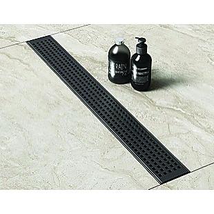 800mm Bathroom Shower Black Grate Drain w/Centre outlet Floor Waste