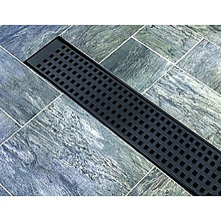 1000mm Bathroom Shower Black Grate Drain w/Centre outlet Floor Waste Square Pattern