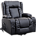 Recliner Chair Electric Massage Chair Lift Swivel Heated Leather Lounge Sofa Black
