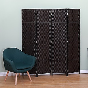 4 Panel Room Divider Screen Privacy Rattan Dividers Stand Fold