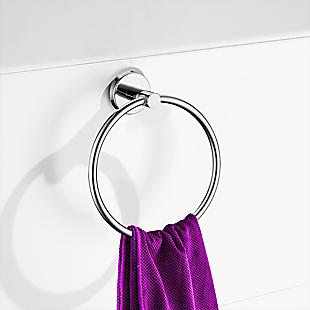 Classic Chrome Towel Bar Rail Ring Bathroom