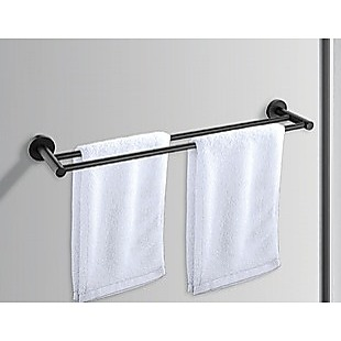 Double Classic Towel Bar Rail Bathroom Matte Black Finish