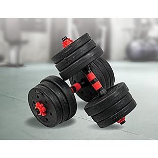 20kg Adjustable Rubber Dumbbell Set Barbell Home GYM Exercise Weights